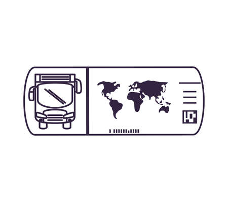 bus transport vehicle with ticket vector illustration design