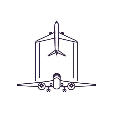 airplanes flying vehicles isolated icon vector illustration design
