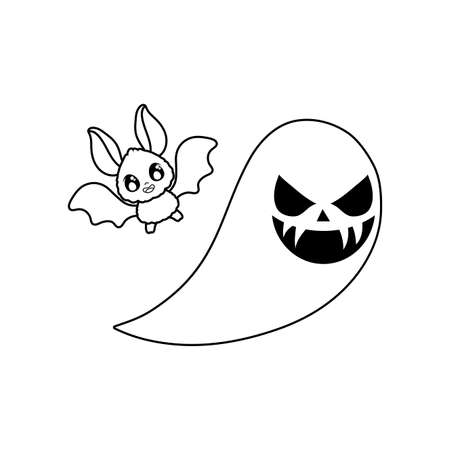 bat flying with ghost on white background vector illustration design