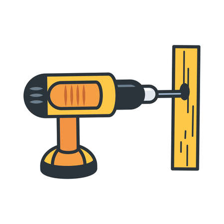 Wood and tool design, under construction work repair progress reconstruction industry and build theme Vector illustration Stock Illustratie