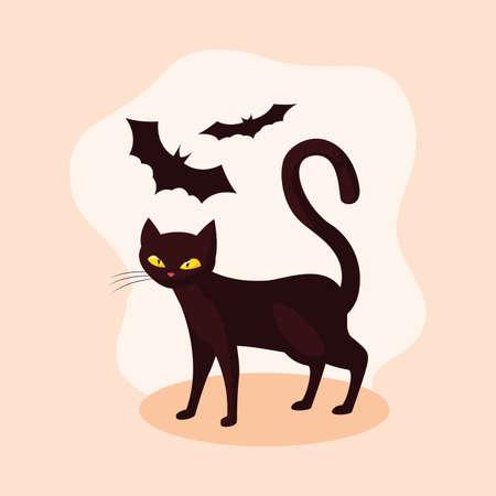 cat animal of halloween with bats flying vector illustration design