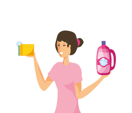 Woman cartoon cleaning design, Object home work hygiene equipment domestic and housework theme Vector illustration