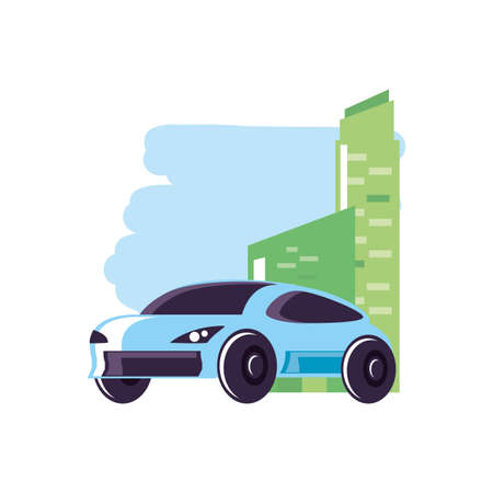 facade building urban with car sedan transportation vector illustration design Ilustrace
