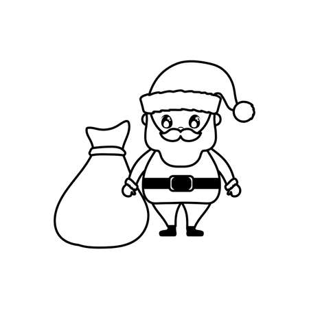 santa claus with bag of gifts on white background vector illustration design