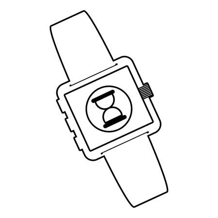 smartwatch technology with hourglass app vector illustration design
