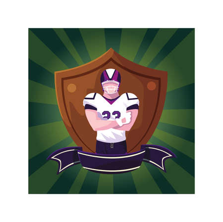 man player american football with shield vector illustration design Ilustracja