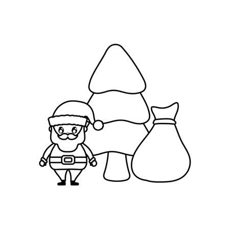 santa claus with bag of gifts and christmas tree on white background vector illustration design Illusztráció