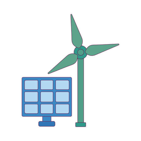 Solar panel and wind mill design, Save energy power eco sustainable and environmental theme Vector illustration