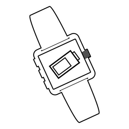 smartwatch technology with battery level app vector illustration design