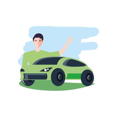 car sedan transportation with young man vector illustration design Illustration