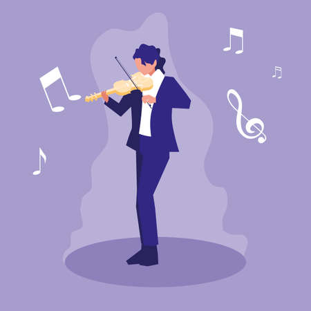 man playing fiddle musician character vector illustration design Ilustrace