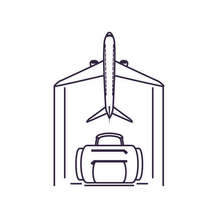travel suitcase equipment with airplane flying vector illustration design Ilustracja