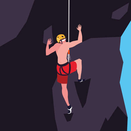 man athlete practicing climbing character vector illustration design