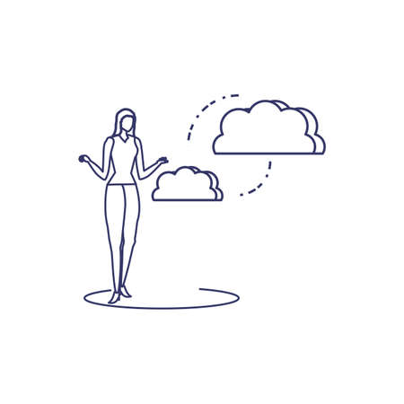 silhouette of woman sharing cloud information vector illustration design