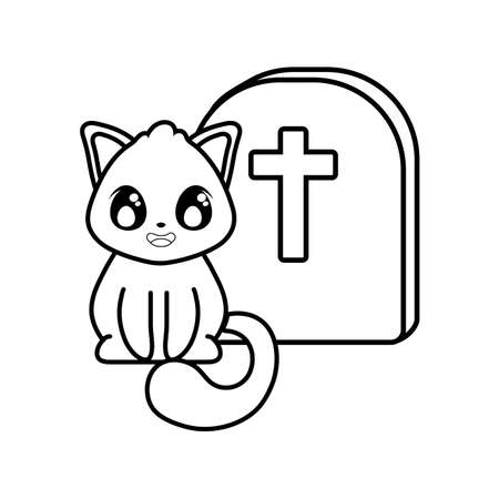 cute cat with graveyard tombstone on white background vector illustration design 일러스트