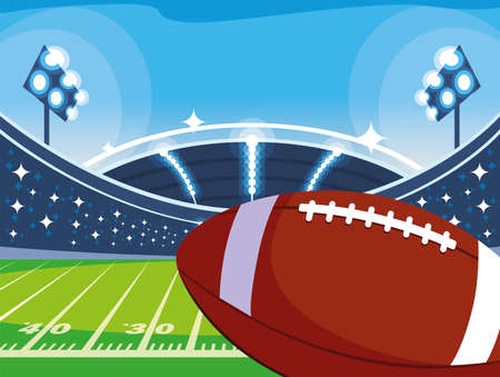 Ball in front of granstand design, Super bowl american football sport hobby competition game training equipment tournement and play theme Vector illustration