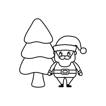 santa claus with christmas trees on white background vector illustration design