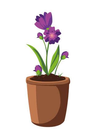 patch of houseplant in pot vector illustration design 일러스트