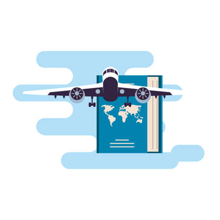 passport document travel with airplane vector illustration design 일러스트