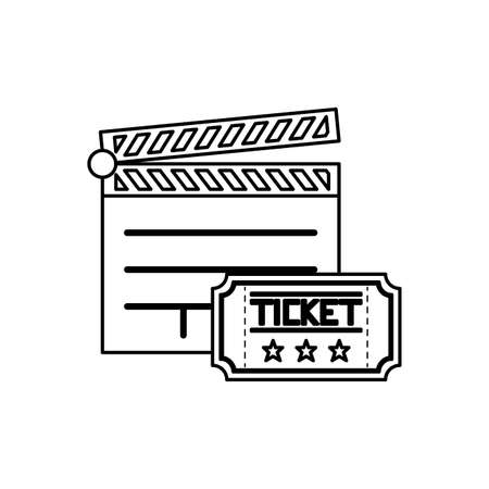 clapboard cinema with ticket isolated icon vector illustration design