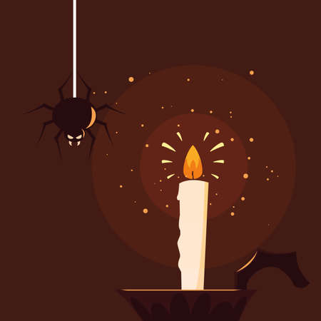 halloween candle light with spider vector illustration design