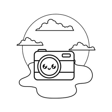 photographic camera in the beach vector illustration design