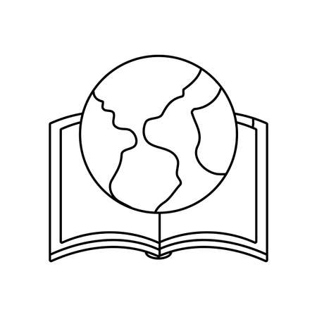 textbook education open with planet earth vector illustration design