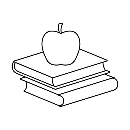 pile of textbooks with apple fruit vector illustration design Illustration