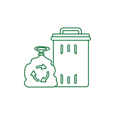 recycle bin with bag isolated icon vector illustration design Zdjęcie Seryjne - 140205959