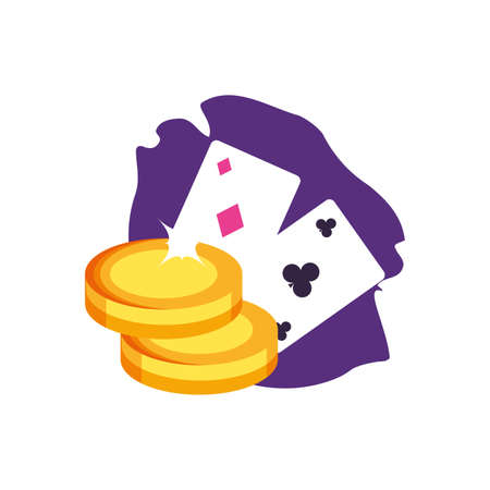 poker casino game cards with coins money vector illustration design