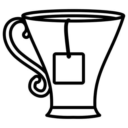 cup with tea bag over white background, vector illustration