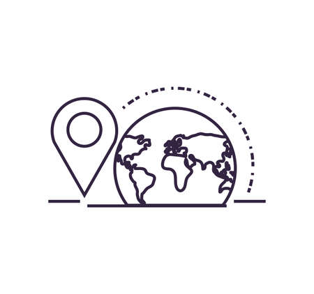 world planet earth with pins location vector illustration design
