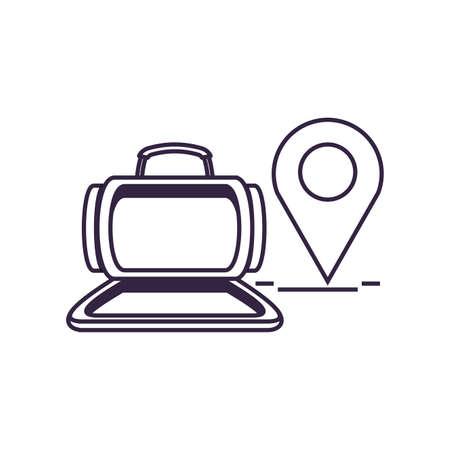 travel suitcase equipment with pin location vector illustration design Ilustracja