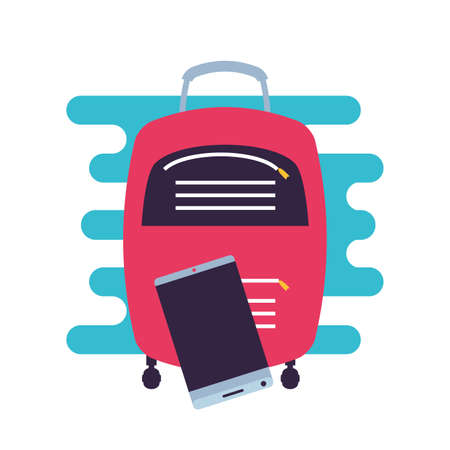 travel suitcase equipment with smartphone vector illustration design