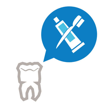 tooth human with brush and tooth paste vector illustration design