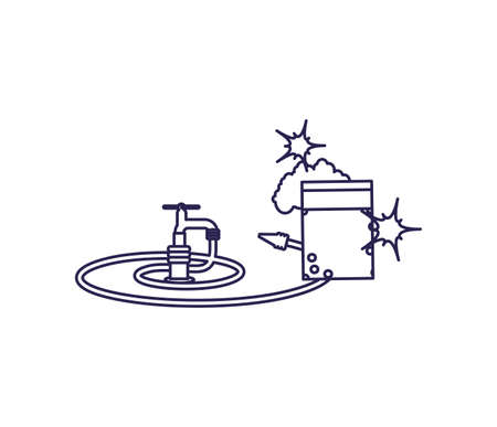 Water tap and hose design, Object home work hygiene equipment domestic and housework theme Vector illustration