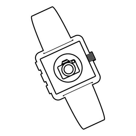 smartwatch technology with camera app vector illustration design