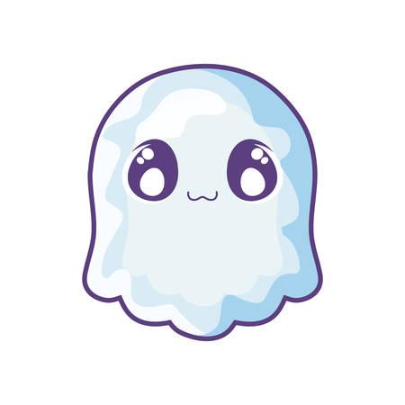 funny halloween ghost on white background vector illustration design