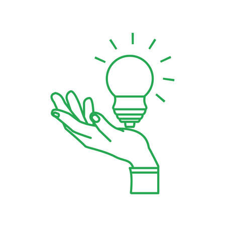 hand with saving bulb electric isolated icon vector illustration design Illusztráció