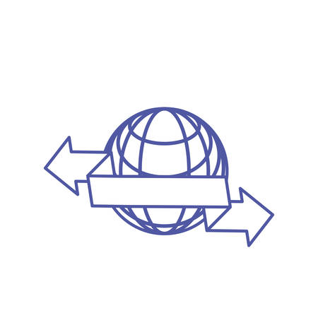 sphere browser technology with set of arrows vector illustration design