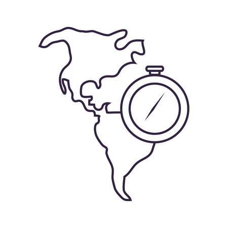 compass guide device with map of continent american vector illustration design