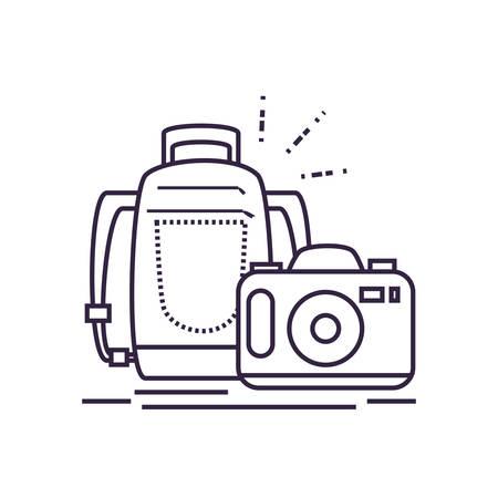 travel suitcase equipment with camera photographic vector illustration design Иллюстрация