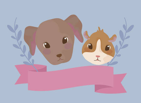 heads of guinea pig with dog baby animals vector illustration design