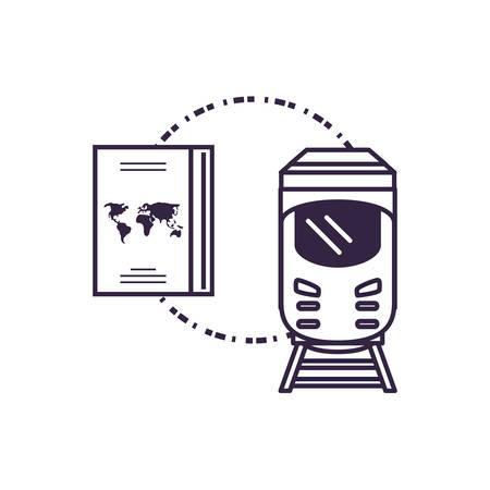 passport document travel with train vector illustration design