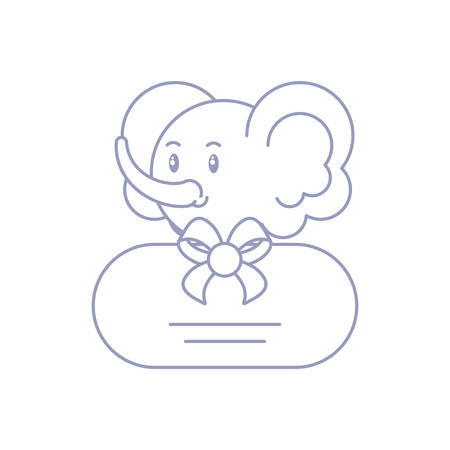 head of cute elephant baby with bow ribbon vector illustration design