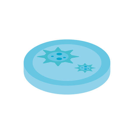 Petri dish with bacteria over white background, flat style icon, vector illustration Stock Illustratie