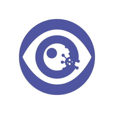 eye with bacteria germ over purple circle and white background, block style icon, vector illustration