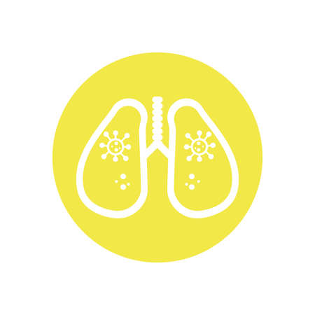 lungs with bacteria germs over yellow circle and white background, block style icon, vector illustration Illustration
