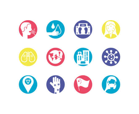 sickness and medicine concept icons set over white background, colorful and flat style, vector illustration