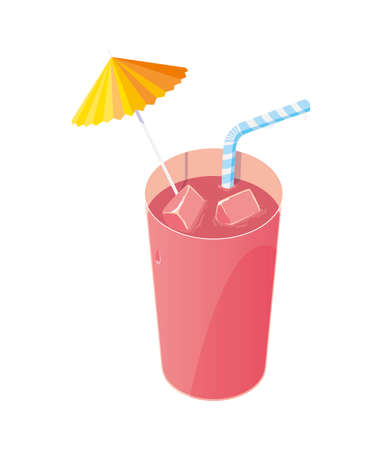 juice fruit cocktail with straw vector illustration design